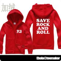 Save rock and roll boy fall out boy zipper sweatshirt plus velvet thickening cardigan