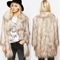 2014 Winter Women Coat Gradient Color Fur Coat Faux Fur Peacock Wool V-Neck Hook Button Long Fur Overcoat Fur Collar Outerwear