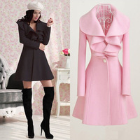 2014 autumn and winter woolen outerwear female medium-long small cloak woolen overcoat loose trench