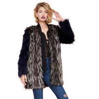 Fashion 3 Colors Faux Outerwear Contrast Color Faux Fur Coat Blended-Color Artificial Fur Overcoat Fur Patchwork Jackets Women