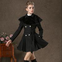 58109 winter rabbit fur shawl twinset slim black woolen outerwear double breasted overcoat
