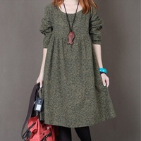 Free shipping 2014 maternity clothing maternity casual all-match long-sleeve one-piece dress loose plus size maternity dress