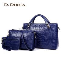 Women's bags fashion 2014 Crocodile women's for fashion handbag female shoulder bag piece set bag