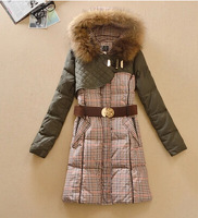 Women fashion slim medium-long andynoy andy houndstooth raccoon fur down winter thick coat with belt