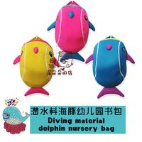 Neoprene  kindergarten kids school bag dolphin backpack  animal   package