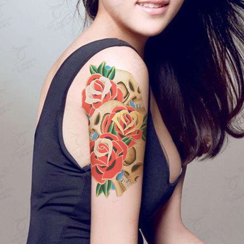 Fashion Body Art Large Temporary Tattoo Beauty Flower Rose Old School Tattoos Waterproof Fake Tatoo Sticker(China (Mainland))