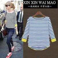 Fashion women's navy stripe 100% cotton plus size t-shirt all-match loose half sleeve top