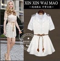 Fashion women's slim lace one-piece dress twinset gentlewomen one-piece dress