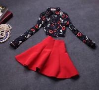 2014 European and American retro temperament new fashion Girls Clothing Set 2 PCS black print shirt and red skirt set ka180