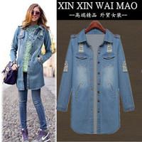 Fashion all-match fashion women's denim outerwear medium-long single breasted denim coat