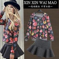 Fashion women's flower print pullover sweatshirt short skirt fashionable casual set women's