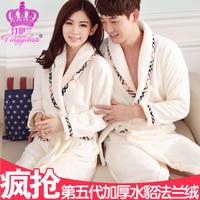 silk robe Autumn and winter flannel robe male women's lovers sleepwear long-sleeve coral fleece bathrobe thickening lounge