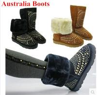 Designer Genuine Leather Women Snow Boots Rivet Australia Winter Flat Heels Fashion Punk Style Warm Fur Shoes Plus Size 35-40