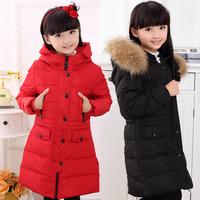 High end!2014 winter luxury large fur collar children girls kids medium-long thickening hooded down jacket parkas coat outerwear