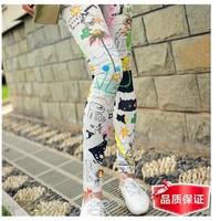 Personality splash-ink ankle length trousers multicolour doodle bf HARAJUKU legging Freeshipping