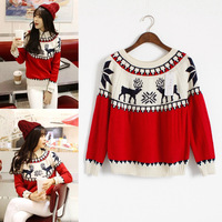 39 2014 color onta block decoration pullover jacquard pattern basic sweater female outerwear