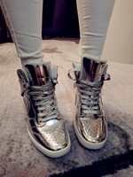 2014 BAZA Brand New Fashion High Quality Lace Up High Top Sliver/God Sneakers For Women