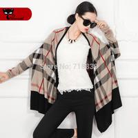 Hot sale Autumn 2014 brief plus size plaid sweater cardigan loose cape sweater outerwear women's