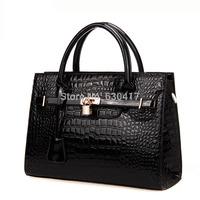 2014 women's handbag fashion for Crocodile women's handbag japanned leather handbag fashion bag platinum cross-body bags large