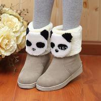 2014 winter panda head platform comfortable thermal short snow boots scrub velvet flat heel boots