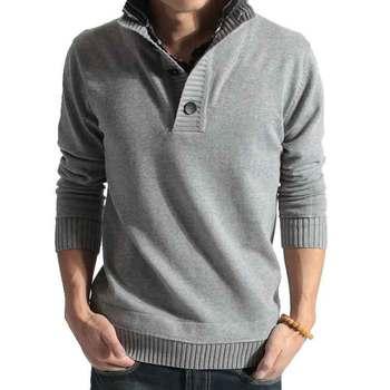 Бесплатная доставка 2014 новый ретро декоративные пуговицы шпон груди корейских мужчин культивирования с длинными рукавами поло свитер мужской пуловеры