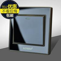 Wall switch socket panel black crystal mirror single control switch