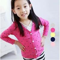 Free shipping fashion  children outerwear girls polka full cotton kids outerwear kids