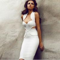 FREE SHIPPING Summer women's fashion sleeveless halter-neck slim medium-long hip sexy one-piece dress 6489
