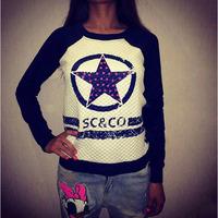 S-XL New arrive 2014 women fashion circle star print long sleeve pullover hoody sweatshirt plus velet sweatshirt LJ058LMX