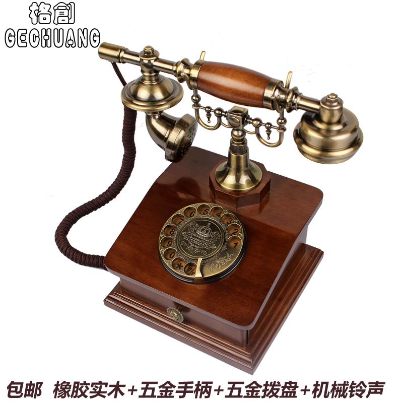 fashion vintage antieke telefoon hout antieke telefoon ouderwetse technologie caller id telefoon(China (Mainland))
