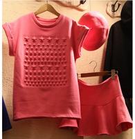 2014 NEW Korean Version  twinset female short-sleeve pleated sweet