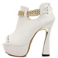 Fashion autumn 2014 single fashion punk chain rivet thick heel platform high-heeled open toe boots sandals