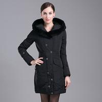 Rabbit fur thermal thickening slim velvet down coat women's with a hood down coat