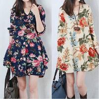 2014 autumn women's plus size print dress loose fluid long-sleeve v-neck dress  winter dress maternity dress