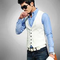 New Fashion 2014 Men's Slim Fit Single Breasted Suit Vest White Black Plus Size Colete Masculino Male British Style Vest Men
