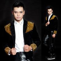 2014 New Style fashion Men's Black Gold Rivet Short Design Slim Blazer Singer male DS Dj costume suit