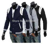 2014 autumn and winter men's stand collar jacket slim casual jacket woolen leather coat