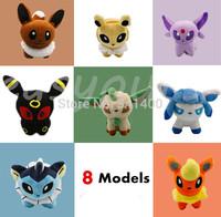 "Free 8pcs/lot Pokemon Plush Toys 5.1"" Umbreon Eevee Espeon Jolteon Vaporeon Flareon Glaceon Leafeon Animals Soft Stuffed Dolls"