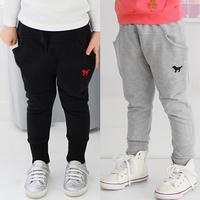 2014 autumn and winter cartoon boys clothing girls clothing child fleece long trousers breeched kz-1121