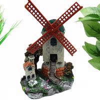 Fish tank rotating resin windmill tower house aquarium decoration ornament free shipping
