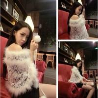 New women's super- plush wild fashion fairy stitching lace shawl cape coat . Free Shipping