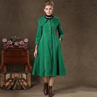 For 6061 women's fashion royal laciness large lapel big skirt slim waist woolen cloth full dress