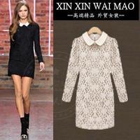 Fashion peter pan collar slim step skirt elegant lace gentlewomen slim hip one-piece dress female