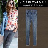 Fashion autumn women's water wash denim trousers slim