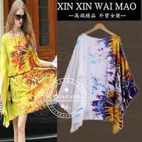 Mm plus size clothing 2014 autumn chiffon loose one-piece dress irregular ruffle print one-piece dress