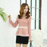 Princess wind flare sleeve skirt short design shirt top slim waist female pink