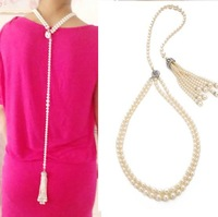 Accessories emperorship belt possbie style pearl tassel long formal dress short necklace