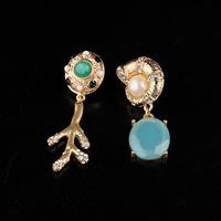 Accessories blue ocean wind snail shell coral diamond gem earrings