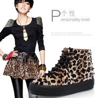 vintage rivet decorate High top women sneaker  leopard print rivet lady student sport  casual shoes