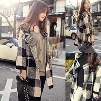 Hot new women's large plaid long loose casual windbreaker jacket knit cardigan sweater . Free Shipping